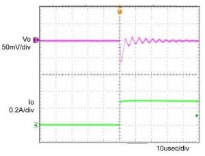 图 19:负载电流急増例。输出电压会随着振铃逐渐恢复后瞬间下降。